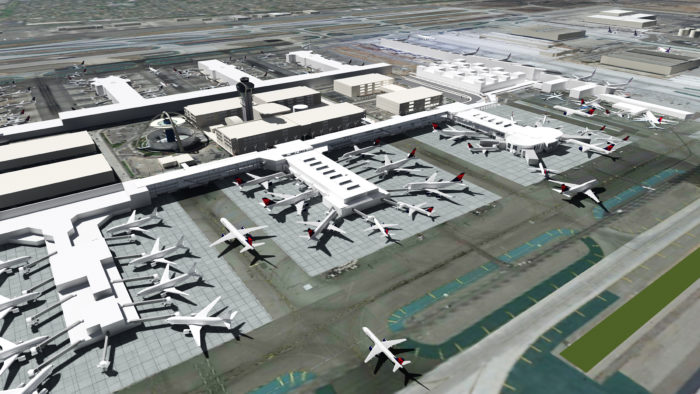 "Rendering of the T2/T3 ""Sky Way"" at LAX, to be complete by mid-2023"