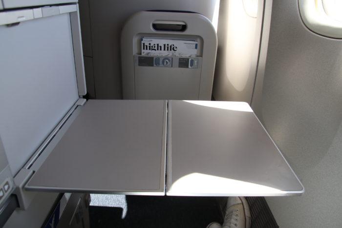 British Airways Club World tray table