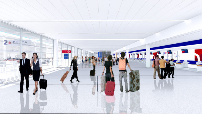 Delta's rendering of its Terminal 2 ticketing area, to be completed in 2021