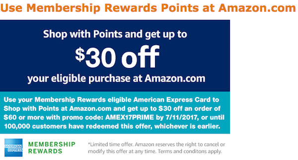 cb37a98239f Great Deal  Get  30 Off A  60 Amazon Purchase With Amex - One Mile ...