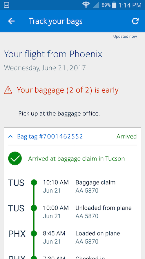 American Delayed Baggage 3 One Mile At A Time
