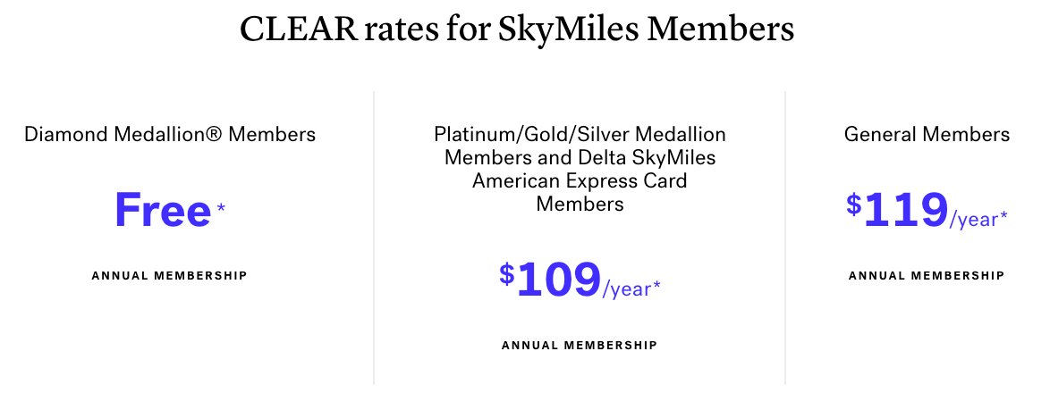 CLEAR rates for SkyMiles Members 2020