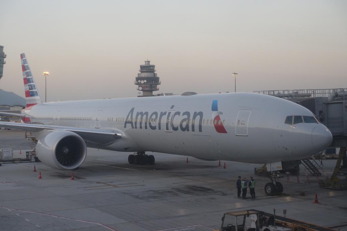 American 777 300er At Hong Kong Airport