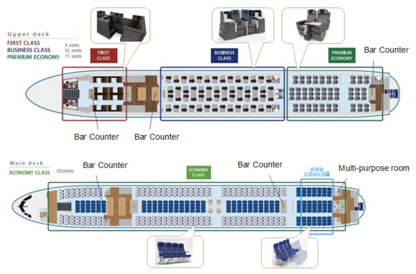 A380 Seat Map ANA's New A380 Cabins & Seatmap Revealed | One Mile at a Time