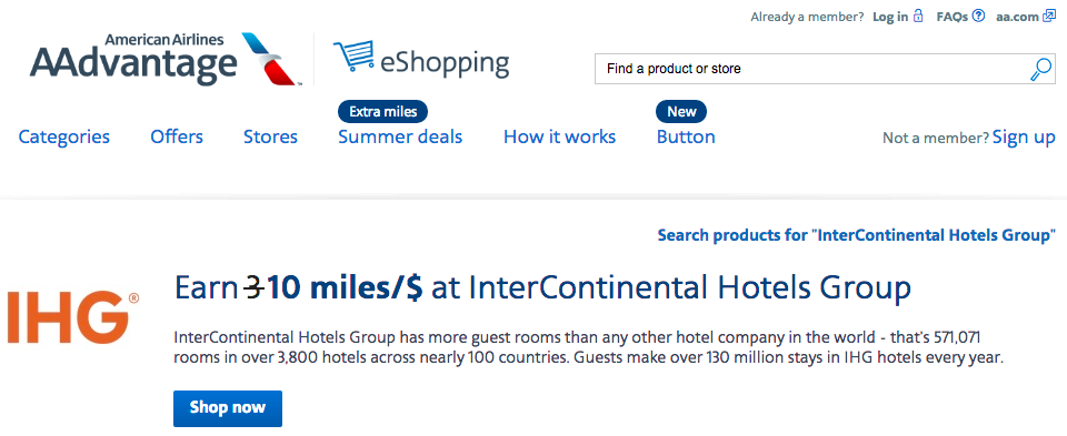 Great Deal: Earn 10 American Miles Per Dollar Spent With IHG