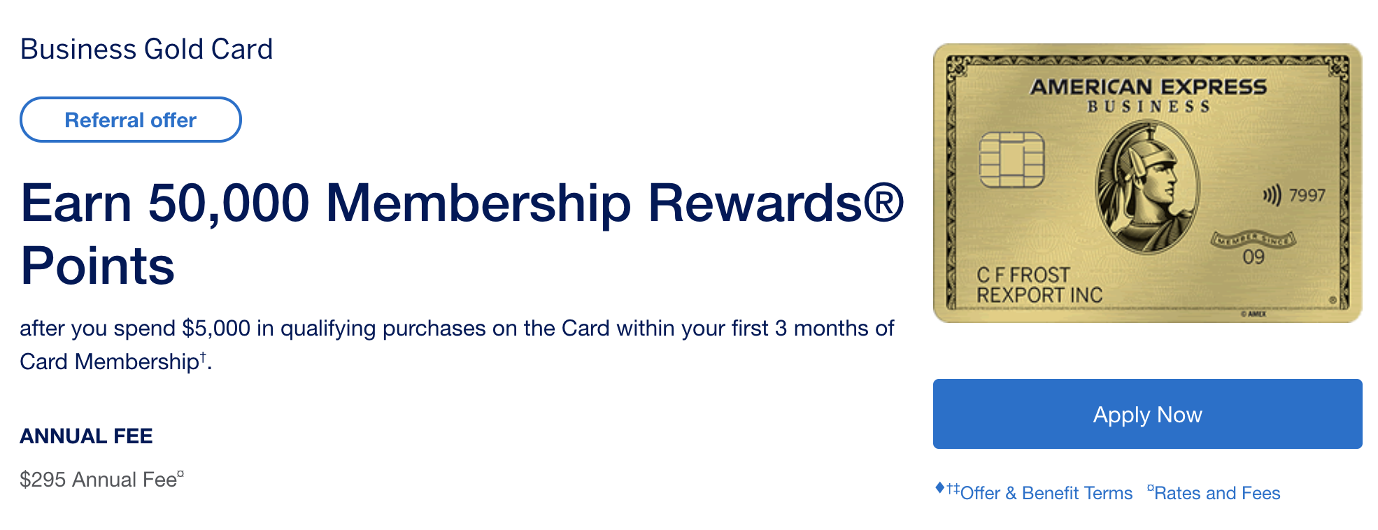 New: 50k Welcome Bonus On Amex Business Gold When Referred