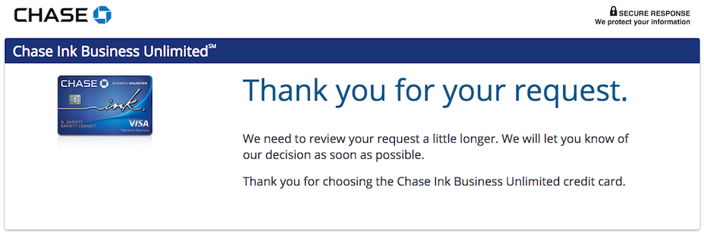 Results From My Chase Ink Business Unlimited Application One Mile