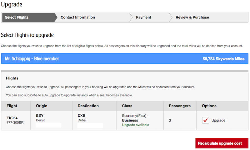How To Upgrade An Emirates Ticket With Miles | One Mile at a Time