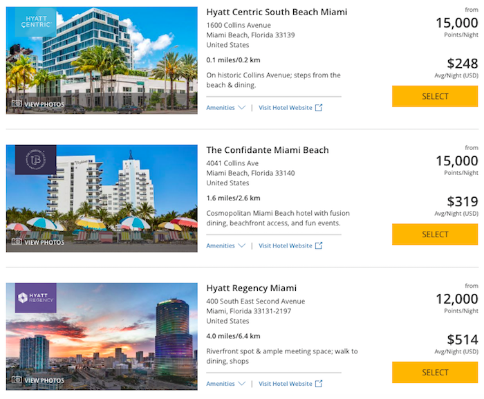 Than 15 000 Points Per Night Because That S The Equivalent Of A Category 4 Hotel For Example As You Can See This Leaves Lot Options In Miami