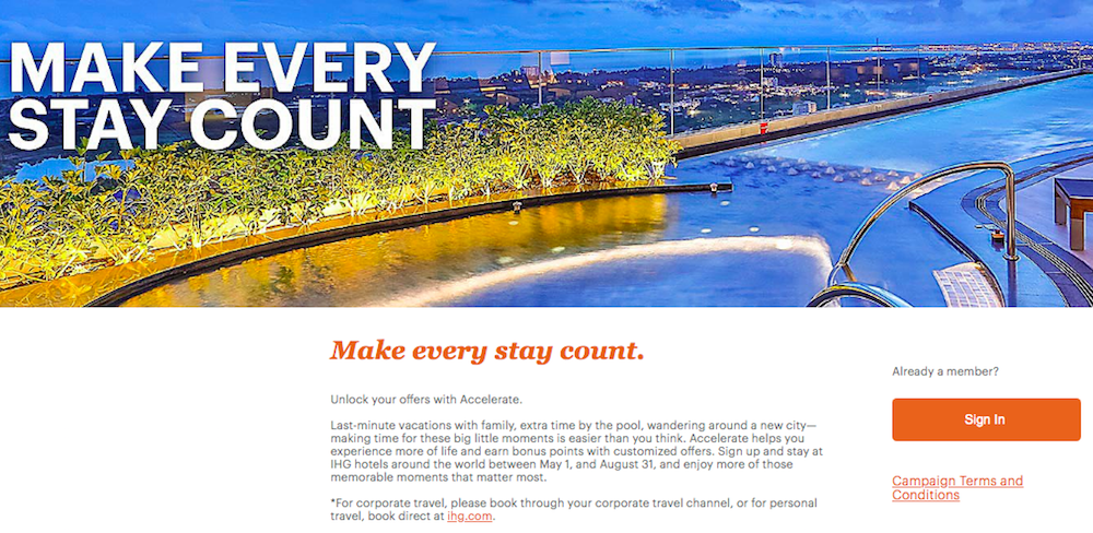 IHG's Summer 2019 Accelerate Promotion | One Mile at a Time