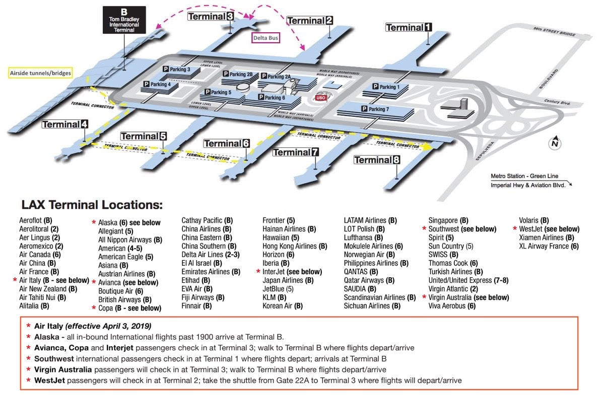 lax tom bradley terminal map How To Get Between Terminals At Lax One Mile At A Time lax tom bradley terminal map