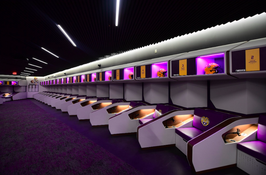 The LSU Locker Room Looks Like An Airplane | One Mile at a ...