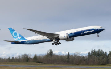 Boeing 777x First Flight At Paine Field In Everett, Washington.