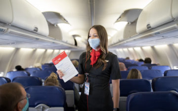 Southwest Airlines Flight Attendant Emergency Briefing And Demonstration. Photographer: Stephen M. Keller, 2020