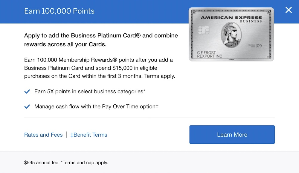 amex business plat 100k